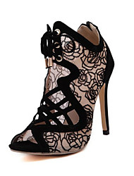 Women's Spring / Summer / Fall Heels / Bootie PVC Dress / Casual Stiletto Heel Chain / Lace-up Black / Beige