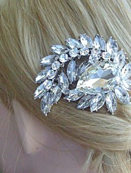 Bridal Hair Comb Wedding Hair Comb Silver-tone Clear Rhinestone Crystal Flower Hair Comb Wedding Headpiece
