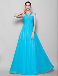 Lanting Bride® Floor-length Chiffon Bridesmaid Dress - Sheath / Column Halter Plus Size / Petite with Criss Cross