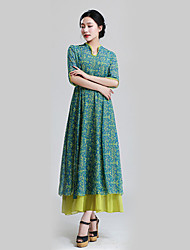 Women's Patchwork Multi-color Dress , Casual V Neck ¾ Sleeve