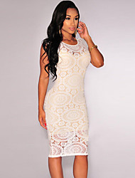 Women's Optical Net Nude Illusion Midi Dress