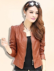 Yana Women'S  Korean Short Paragraph Slim Washed Leather Motorcycle Lady