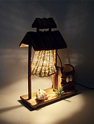 Pastoral Bedroom Wooden House Type Creative Table lamp Home Decoration Crafts Gifts