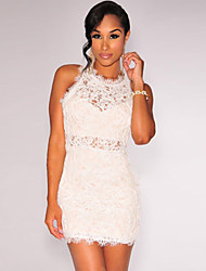 Women's Embroidered Lace Nude Illusion Dress