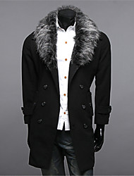 Autumn And Wnter Fashion Slim Large Fur Collar Trench Woolen Outerwear Woolen Overcoat Trench Male Medium-long