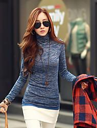 Mulheres Camiseta Gola Alta Manga Longa Bordado Algodão / Elastano Mulheres