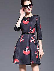 Women's Print Black Dress  Vintage  Casual Round Neck  Sleeve