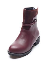 Zapatos de mujer - Tacón Bajo - Punta Redonda - Botas - Vestido - Semicuero - Negro / Marrón / Bermellón