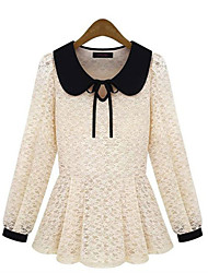Overhemdkraag - Polyester - Met ruches - Vrouwen - T-shirt - Lange mouw