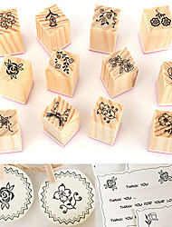 12Pcs Vintage Flower Lace Wooden Rubber Stamps