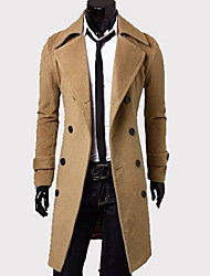 Men's Long Sleeve Long Coat , Tweed Pure