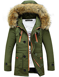 Men's Long Parka Coat , Cotton Blend / Polyester Pure Long Sleeve