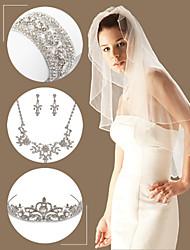 Wedding Accessories Set(Veil & Headdress & Necklace & Earrings & Bracelet)