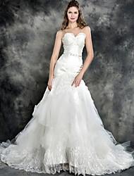 Trumpet/Mermaid Wedding Dress - Ivory Chapel Train Strapless Lace/Tulle