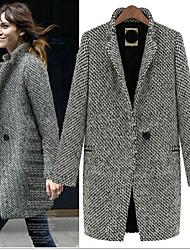 women's dress  revers  Collar Button Coats, Cotton Casual Long Sleeve Docen
