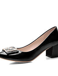 Women's Shoes Patent Leather Chunky Heel Heels Pumps/Heels Casual Black/Blue/Pink/Beige