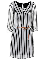Women's Casual/Daily A Line Dress,Striped Round Neck Above Knee ¾ Sleeve White Cotton Fall