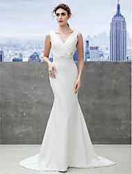 lanting novia trompeta / sirena de boda del vestido de barrido / cepillo de tren de satén con cuello en V