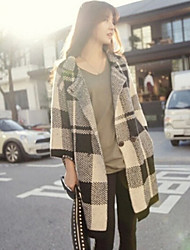 Women's Check Multi-color Coat , Casual Long Sleeve Wool Blends