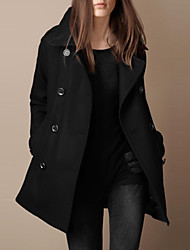 BING Women's Solid Color double-breasted cloth Coats  , Casual / Party / Work Tailored Collar Long Sleeve