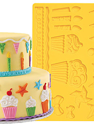 Cake Decoration Tools Kids Party Fondant and Gum Paste Mould Cake Border Silicone Mold