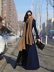 Women's Solid Blue / Brown / Gray Trench Coat , Party / Plus Sizes Long Sleeve Cashmere