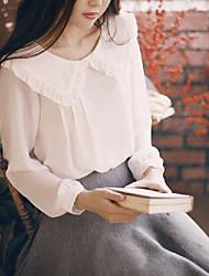 Mulheres Blusa Outono,Sólido Branco Gola Frufru Manga Longa Fina