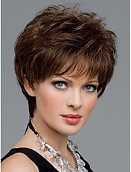 Femmes Nice perruque courte ligne droite naturelle dame élégante brune perruques de cheveux synthétiques