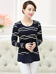 Women's Striped Blue / Black T-shirt , Round Neck Long Sleeve