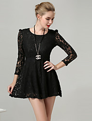 Women's Sexy / Casual / Lace Solid / Lace Ball Gown Dress , Round Neck Above Knee Lace
