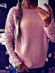 Perfect Women's Lace Blue / Pink Sweaters , Sexy / Casual / Work Round Long Sleeve