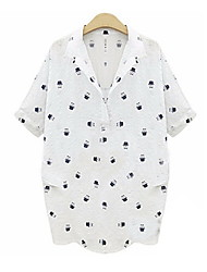 Women's Vintage Sexy Casual Print Cute Work Short Sleeve Shirt , Cotton White