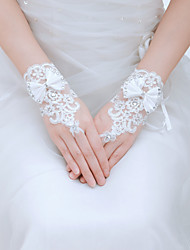 Wrist Length Fingertips Glove Silk Bridal Gloves