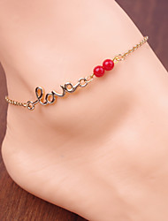 Women's Simple Red Bead Letters LOVE Chain Anklets