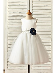 A-Line Knee Length Flower Girl Dress - Satin Tulle Sleeveless Scoop Neck with Flower