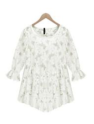 Women's Solid Color White / Black   Plus Size  Dresses , Vintage / Casual Round Long Sleeve