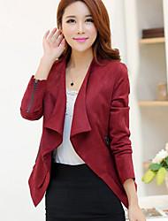 Women's Casual/Work Lapel Solid Jackets , Long Sleeve Pocket/Zipper