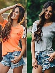 Sexy / Informeel / Zakelijk Rond - VROUWEN - T-shirts ( Katoen )met Korte Mouw