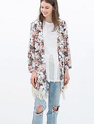 CEN     Women's Print / Solid Color Multi-color Coats & Jackets , Casual Asymmetrical Long Sleeve
