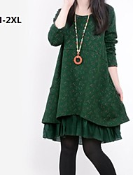 Women's Round Collar Flora Print Stitching Loose Long Sleeve A-line Plus Size Dress