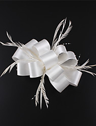 Lady Satin Feather Flowes Bridal Fascinators  White/Gray/Fuchsia