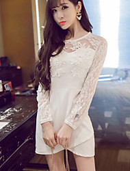Women's Solid/Patchwork/Lace White/Black Dress , Vintage/Party Round Neck Long Sleeve Lace/Mesh