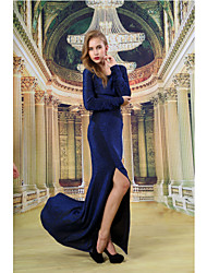 Formal Evening Dress - Dark Navy Sheath/Column Scoop Floor-length Knit