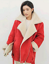 Women's Solid Color Red Coats & Jackets , Casual V-Neck Long Sleeve