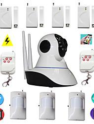 cámara ip wifi de alarma antirrobo sistema de seguridad de la casa con 4 hilos de la puerta sensor magnético 3 pir detector de movimiento