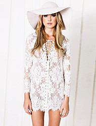 Women's Lace Deep V Long Sleeve Dress