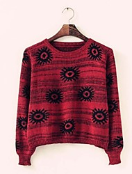 Women's Knitting Flower Print Jumper Sweater