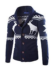 Men's Shirt Collar Sweaters , Cotton / Cotton Blend Long Sleeve Casual Pocket Winter / Fall NEWJOGAL