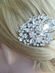 Silver-tone Wedding Hair Comb Rhinestone Crystal Flower Hair Comb Bridal Hair Comb Wedding Headpiece Bridal Jewelry