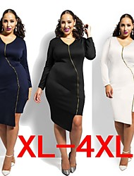 Plus Size (XL-4XL)Women's Plus Size Dresses , Vintage / Sexy / Beach / Casual / Cute / Party Round Long Sleeve VICONE
